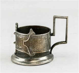 19th Century Russian Silvered Cup Holder with Mark