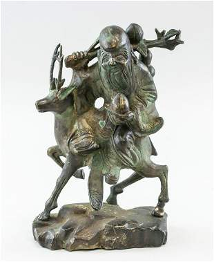 Chinese Bronze Shou Xing Seated on Deer