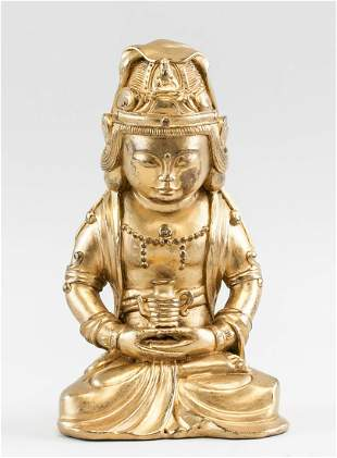 Chinese Korean Gilt Bronze Buddha