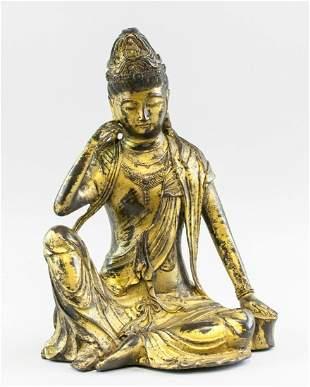 Large Chinese Gilt Bronze Guanyin Buddha Ming