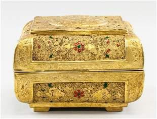 Chinese Gilt Bronze Tang Style Jewellery Box