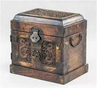 Chinese Huali Carved Dragon Jewelry Box