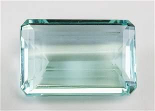 """62.55ct Emerald Cut Blue Natural """"Aquamrine"""" GGL"""