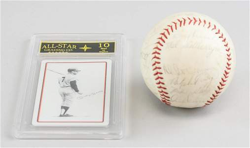 1965 Baseball w/ Playing Card Hand Signed Mickey Mantle