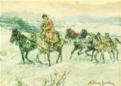 Polish Oil on Canvas Signed A. Wierusz Kowalski