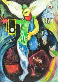 Russian-French Oil on Canvas Signed Chagall