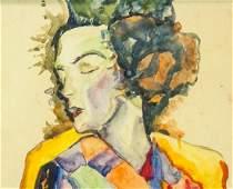 Austrian Watercolor Signed Egon Schiele