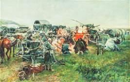 Polish Oil on Canvas Signed Josef Von Brandt