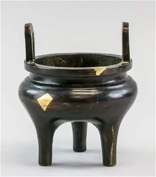 Chinese Bronze Tripod Censer Jiacang Zubao MK