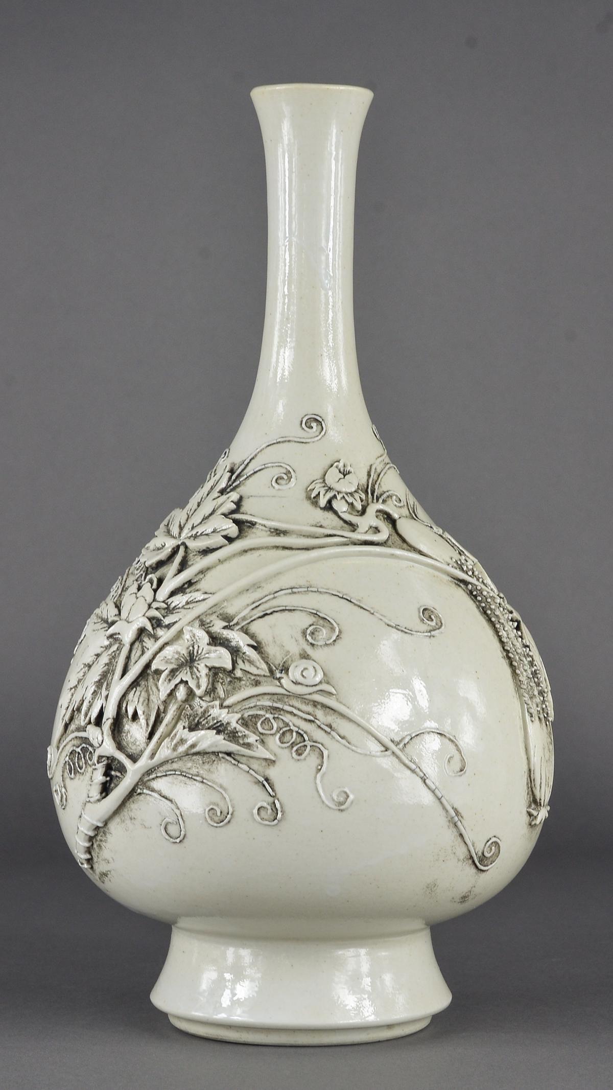 Chinese White Molded Porcelain Pear Vase