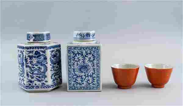 Lot of Four Chinese Porcelain Jars and Cups