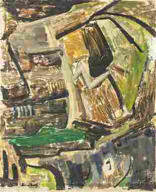 British Abstract Oil on Canvas Signed Bomberg