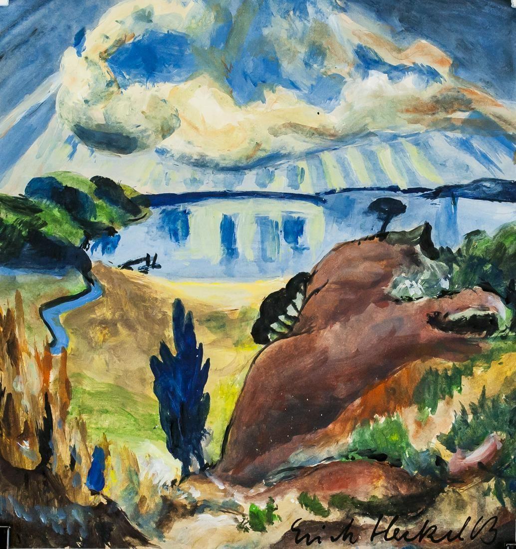 German Expressionist Tempera Signed Illegibly