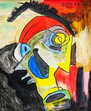 Canadian Modernist Oil on Canvas Signed Scarlett