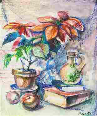 German Modernist Pastel on Paper Signed Munter