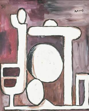 Uruguayan Abstract Oil on Canvas Signed Matto