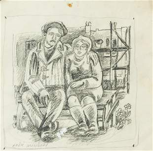 French Pencil on Paper Signed Andre Marchand