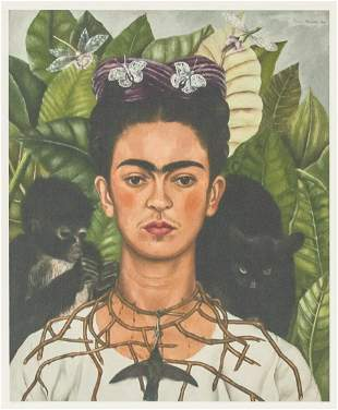 Mexican Modernist Signed Frida Kahlo Lithograph