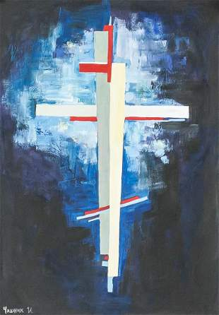 Russian Tempera on Paper Cross Signed