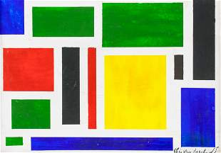 Dutch Oil on Canvas Signed Theo Van Doesburg