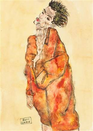 Austrian Watercolor and Ink Signed EGON SCHIELE