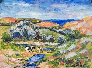 French Modernist Oil on Paper Signed Henry Moret