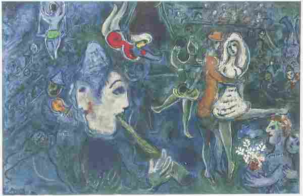 French Surrealist Litho 32/150 Signed Marc Chagall