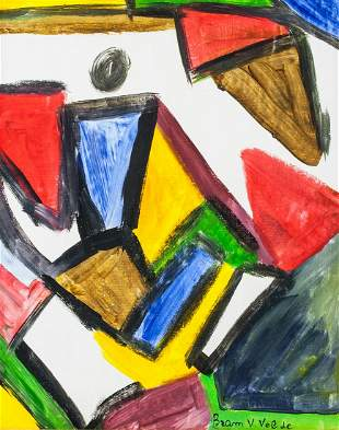 Dutch Abstract Oil on Canvas Signed Bram V Velde