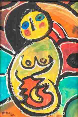 Spanish Modernist Oil on Canvas Signed M Mallo