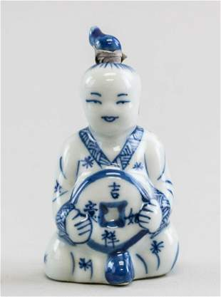 Chinese Ceramic Figural Snuff Bottle