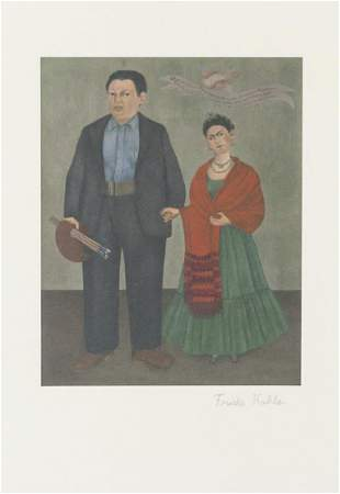 """Mexican Lithograph Signed """"Frida Kahlo"""""""