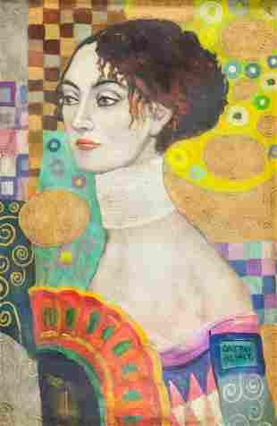 Austrian Oil on Canvas Signed Gustav Klimt