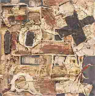 Spanish Abstract Mixed Media Signed Tapies
