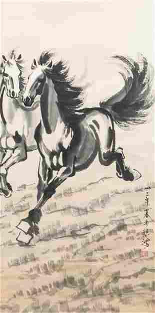 Xu Beihong Chinese 1895-1953 Watercolor Horses