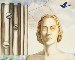 "Belgian Surrealist Oil on Canvas Signed ""magritte"""