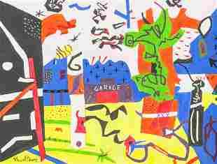 American Acrylic on Canvas Signed Stuart Davis