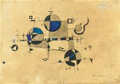 Russian Ink on Paper Signed Kandinsky