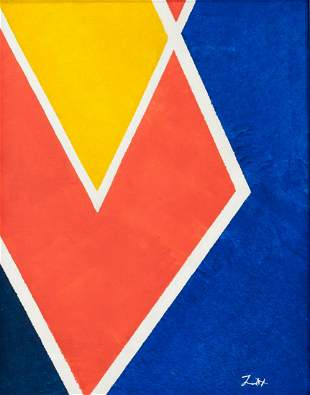 American Abstract Oil on Canvas Signed Zox