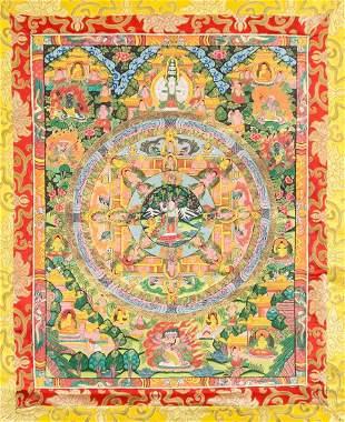 Tibetan Thangka on Red Fabric