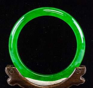 Chinese Imperial Green Jadeite Bangle GIA