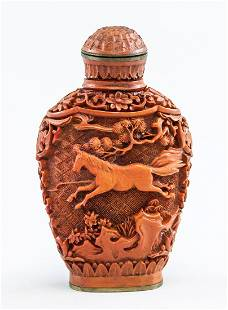 Chinese Lacquer Carved Snuff Bottle Qianlong