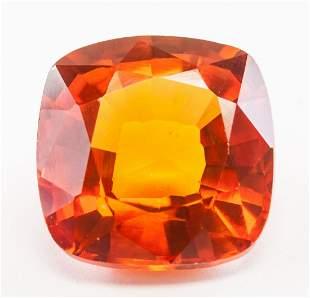 13.55ct Cushion Cut Orange Natural Sapphire GGL