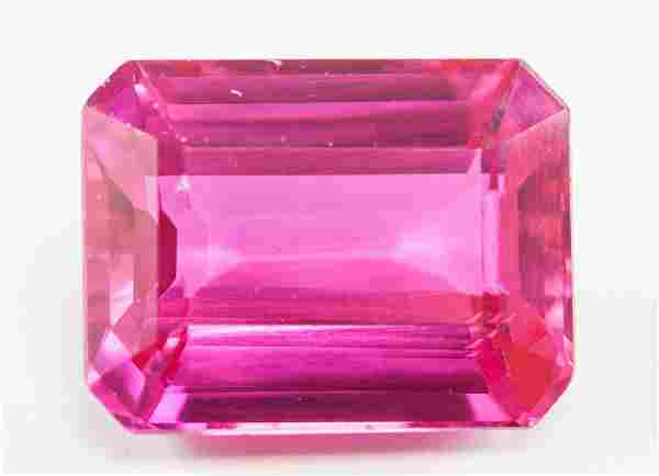 21.50ct Emerald Cut Pink Natural Ruby GGL