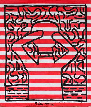 American Pop Oil on Canvas Signed Keith Haring