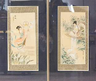 Pair of Framed Chinese Watercolor Paintings
