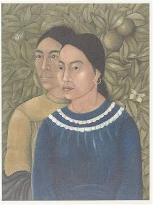 """Mexican Modernist Lithograph Signed """"Frida Kahlo"""""""