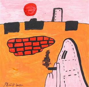 American Oil on Canvas Signed Philip Guston