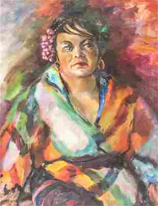 Acrylic on Canvas Portrait of Woman