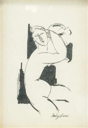 Italian Ink on Paper COA Signed Modigliani