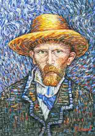 Dutch Oil on Canvas Self Portrait Signed Vincent
